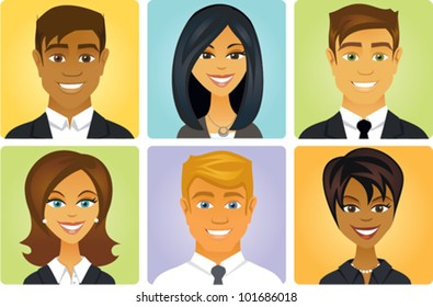 Cartoon of a group of business people avatars