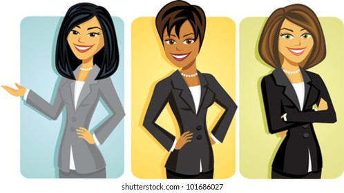 Cartoon of a group of business women