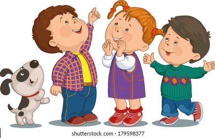 Cartoon group of children who are smiling and looking up.