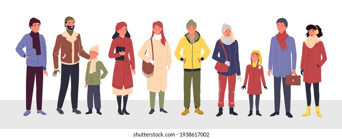 Cartoon group of cute man woman kid characters in trendy outerwear standing in row, wearing warm coat and boots, scarf and hat isolated on white. People wear casual winter clothes vector illustration.