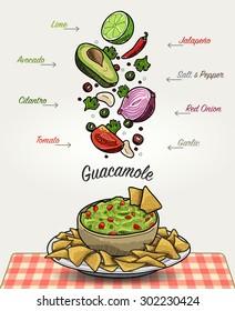 Cartoon Guacamole with Nachos