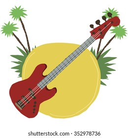 Cartoon guitar flat icon. The vector illustration for ui, web games, tablets, wallpapers, and patterns. With music and palm trees.