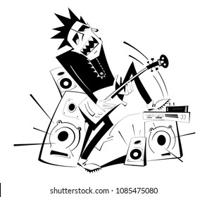 Cartoon guitar player black on white isolated illustration. Expressive guitarist plays loud music using amplifier and several speakers puts his foot one of them vector
