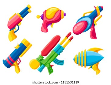 Cartoon gun collection. Flat vector colorful toys. Space laser guns design. Vector illustration isolated on white background.