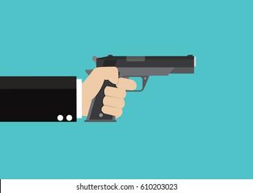 Cartoon, Gun in hand., vector eps10