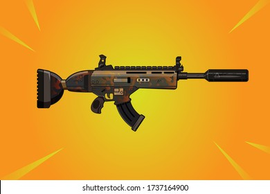 Cartoon Gun vector illustration. Fortnite Scar with army skin on yellow background
