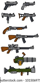 Cartoon guns, rifles, submachines, revolver and shotgun isolated on white background. Vector weapons firearms icons.