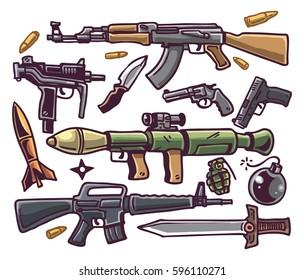 cartoon guns set colour