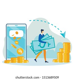 Cartoon Guy with Cash. Huge Phone Man Makes Financial Operations Using Mobile App. Money Transactions, Payment and Investment via Digital Device. Wireless Currency Transfer. Vector Flat Illustration
