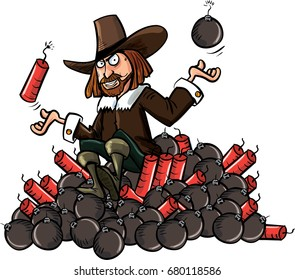 Cartoon of Guy Fawkes sitting on a pile of bombs