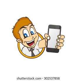 cartoon guy holding phone character vector illustration