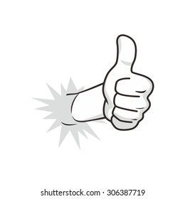 cartoon guy thumbs up character vector illustration