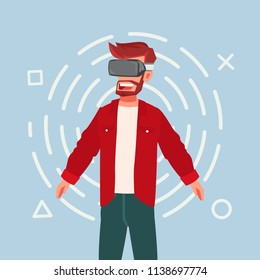 Cartoon guy using virtual reality glasses. Virtual gamer. Vector stock.