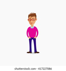 Cartoon guy. Cartoon guy vector illustration. Cartoon illustration of a handsome young man with fashionable hairstyle. Funny cartoon guy. Vector. Cartoon guy picture. Young man vector illustration.
