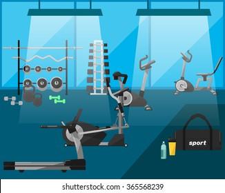 Cartoon gym interior with fitness equipment, cardio machines