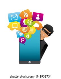 cartoon hacker man with smartphone computer icon over white background. cyber security concept. colorful design. vector illustration