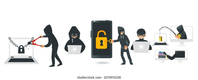 Cartoon hackers hacking devices set. Men in black brake chain of locked laptop by bolt cutter, stealing wallet by fishing rod, coding at computer, stealing money from smartphone. Vector illustration