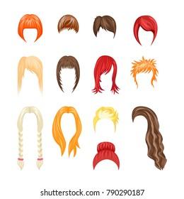 Cartoon Hairstyles Woman Set Haircut Wavy Short and Medium Flat Style Design. Vector illustration