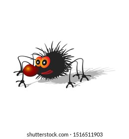 Cartoon hairy black spider with a big red nose. Isolated on a white background with a shadow.