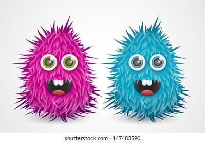 Cartoon hairy monsters