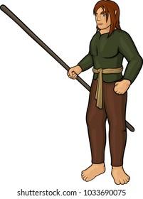 Cartoon half elf villager with staff on white background