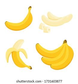 Cartoon half peeled banana and bunch of bananas. Tropical fruits, banana snack or vegetarian nutrition. Vegan food vector icons in a trendy cartoon style. Healthy food concept.