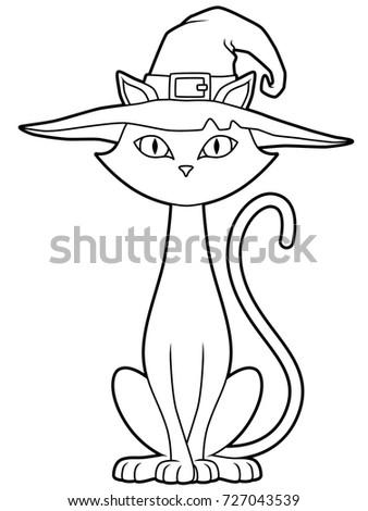 11780afb Cartoon Halloween Cat Hat Line Art Stock Vector (Royalty Free ...