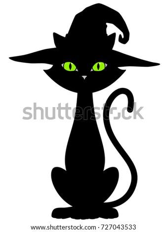 b7cbb8a9 Cartoon Halloween Cat Hat Silhouette Stock Vector (Royalty Free ...
