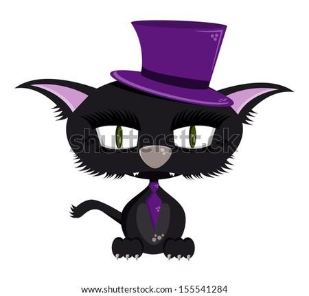 90986782 Cartoon Halloween Cat Violet Hat Vector Stock Vector (Royalty Free ...