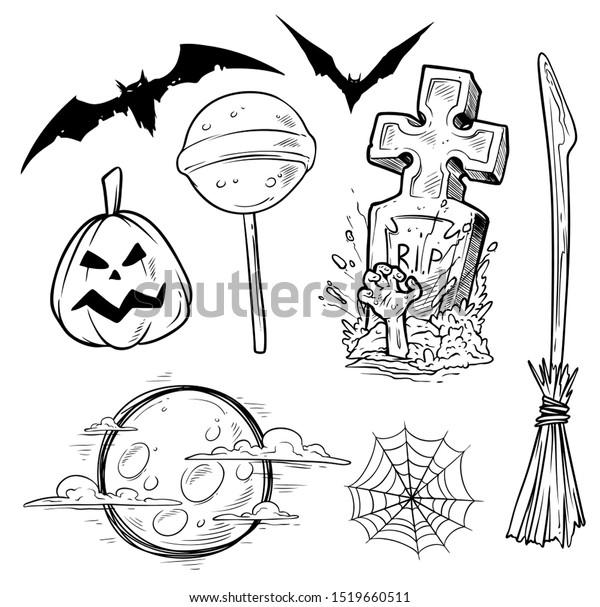 Cartoon Halloween Graphic Black White Hand Stock Vector Royalty Free 1519660511