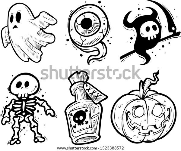 Cartoon Halloween Graphic Black White Handdrawn Stock Vector Royalty Free 1523388572