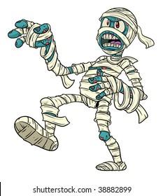 Cartoon Halloween mummy.