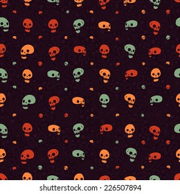 Cartoon Halloween party skull seamless flat icon. Vector illustration for ui, web games, site page backgrounds, postcards, greeting cards, invitations, pattern fills, textures, tablets and wallpapers.