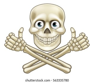 A cartoon Halloween pirate skull and crossbones skeleton character giving a thumbs up illustration