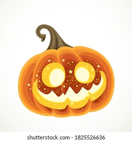 Cartoon Halloween pumpkin lantern isolated on a white background