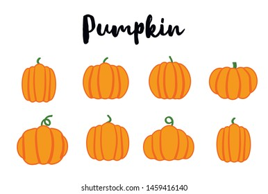 Cartoon halloween pumpkin set. Different shapes and sizes orange gourd isolated on white background.