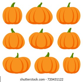 Cartoon halloween pumpkin set. Different shapes and sizes orange gourd isolated on white background. Vector illustration