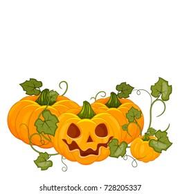 Cartoon halloween pumpkin wearing witch hat isolated. Stock vector.