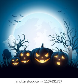 Cartoon Halloween pumpkins with white ghost