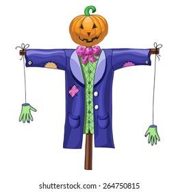 Cartoon halloween scarecrow isolated on white background