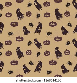 Cartoon Halloween vector seamless background pattern with ghosts, pumpkins and spiders