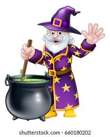 A cartoon Halloween wizard character stirring a cauldron and waving