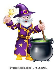 A cartoon Halloween wizard character stirring a cauldron and waving a magic wand
