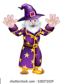 A cartoon Halloween wizard character waving with both hands