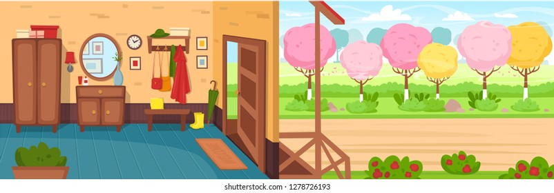 Cartoon hallway background. Panorama with the open door, wardrobe, chest of drawers, mirror, coat rack with clothes, umbrella. The road  with blossoming trees in spring. Vector illustration in cartoon
