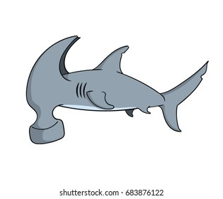 Cartoon hammerhead shark concept