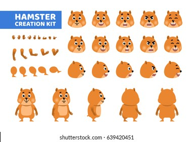 Cartoon hamster or guinea pig creation set. Various gestures, emotions, diverse poses, views. Create your own pose, animation. Flat style vector illustration