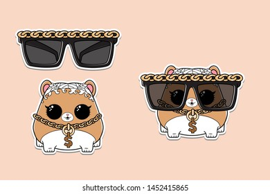 cartoon hamster in sunglasses. white hair and golden chain. Kids surprise toy. funny pet design stickers. Isolated vector illustration