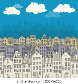 Cartoon hand drawing city
