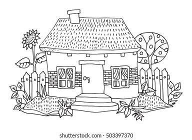 Cartoon hand drawing house, vector illustration